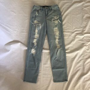 Distressed, Hollister Mom Jeans.